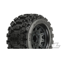 PROLINE BADLANDS MX28 2.8 MOUNTED TYRE ON RAID BLACK WHEELS FOR JATO, NITRO STAMPEDE/RUSTLER REAR - PR10125-10