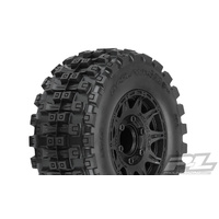 "PROLINE BADLANDS MX28 HP 2.8"" ALL TERRAIN BELTED TRUCK TIRES MNTD ON RAID BLACK REMOV HEX WHEELS (2) FOR STAMPEDE 2WD & 4WD FR & RR - PR10174-10"
