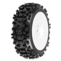 PROLINE BADLANDS 1-8TH XTR MOUNTED TYRES ON WHITE RIMS 2PCS - PR9021-18